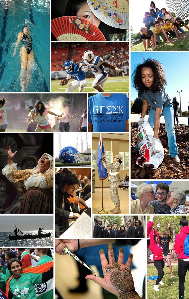 A mosaic featuring involvement opportunities at Georgia State University, including recreation, student organizations, community service and multicultural events.